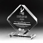Rhombus Plaque Crystal Award Clear Glass / Clear Optical Crystal Awards