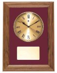 American Walnut Framed Wall Clock with Gold Face & Maroon Velour Clocks and Gift Awards