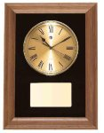American Walnut Framed Wall Clock with Gold Face & Black Velour Clocks and Gift Awards