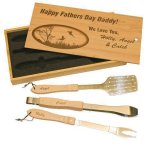 BBQ Set in Wooden Box Holiday Gift Ideas