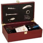 Rosewood Finish Wine Box with Tools and Wine Glasses Misc. Gift Awards