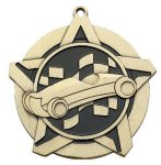 Pinewood Derby Super Star Medal  Gold Racing and Pinewood Derby